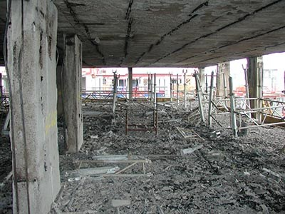 The interior of a building that was fire damaged during construction